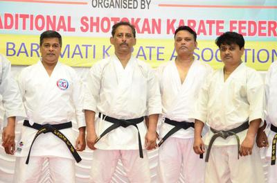Shihan Chaudhury Flanked by other Senior Instructors of WTSKF